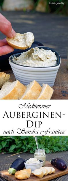 "Auberginen-Dip nach Sandra Franitza ~ Koch dich glücklich durchs ganze Jahr The eggplant dip by Sandra Franitza from her cookbook ""Cook you happy through the whole year"" is a Mediterranean, culinary short trip. Pizza Recipes, Grilling Recipes, Appetizer Recipes, Chutneys, Law Carb, Sauces, Finger Foods, Eggplant, Food Inspiration"