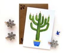 Saguaro Cactus Menorah Hanukkah Watercolor Illustrated Card