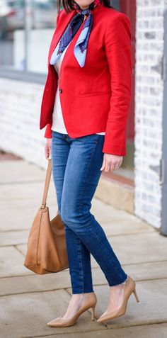 what to wear with a red blazer : top + scarf + bag + heels + skinnies