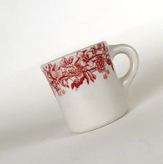 Vintage Coffee Cup, Mug with a floral design White Red by ByHeart on Etsy, $8.90