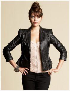 Bebe Peplum Moto Leather Jacket