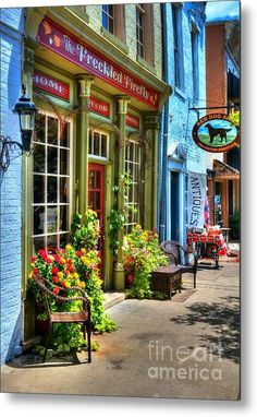 Small Town America 4 Metal Print by Mel Steinhauer Beautiful Streets, Beautiful Places, Patio, Backyard, Modern Cafe, Small Town America, Colourful Buildings, Cafe Interior Design, Shop Fronts