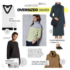 """""""UNDER $100: OVERSIZED SWEATERS"""" by putricp ❤ liked on Polyvore featuring moda, Topshop, Line, oversizedsweater, under100, polyvorecontest e putricp"""