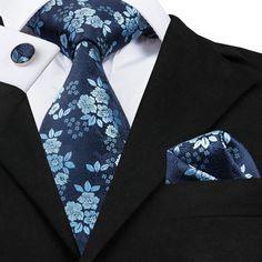 New Classic Blue Mens Tie Floral Silk Necktie Jacquard Woven Set Business Cufflink Set, Grown Man, Tie Set, Tie Colors, Silk Ties, Bow Ties, Wedding Suits, Silk Fabric, Stylish Men