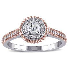 Miadora 10k Gold 1/2ct TDW Diamond Halo Ring (G-H, I2-I3) (Size .0), Women's