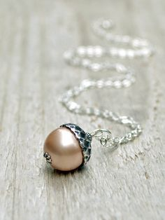Pearl Acorn Necklace -  Sterling Silver, Swarovski Pearl, 5 Colors, Winter, Woodland, Pastel, Cream by BeadinByTheSea on Etsy https://www.etsy.com/listing/63539752/pearl-acorn-necklace-sterling-silver