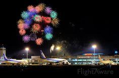 Photo of fireworks over Matsuyama Airport ✈ FlightAware