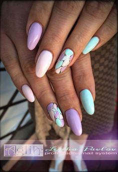 Fashionable pastel manicure and nail design 2018 in the photo. Manicure in pastel colors for short, medium nails. Stylish Nails, Trendy Nails, Cute Nails, Diy Nails, Nail Nail, Easter Nail Designs, Nail Art Designs, Spring Nails, Summer Nails