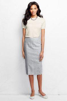 Women's Linen Wear to Work Pencil Skirt from Lands' End