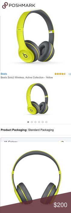 Beats Solo2 Wireless Headphones in shock yellow Beats Wireless headphones in the rare shock yellow. Brand new! Never used!! Price firm Beats by Dre Accessories