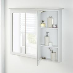 Home Decorators Collection in. H Fog Free Framed Surface-Mount Tri-View Bathroom Medicine Cabinet in - The Home Depot Bathroom Medicine Cabinet Mirror, White Medicine Cabinet, Bathroom Mirrors, Bathroom Storage, Bathroom Ideas, Mirror Panels, Panel Doors, Ikea Lillangen, Free Frames
