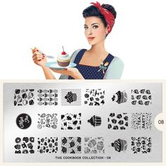 MoYou London Stamping Schablone * Cookbook Collection 8* 08 Muffin Kuchen Tee