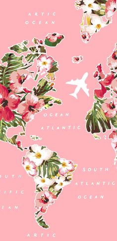 travel wallpaper Wallpaper FloralTrip by Gocase, f - travel World Map Wallpaper, Travel Wallpaper, Animal Wallpaper, Colorful Wallpaper, Screen Wallpaper, Mobile Wallpaper, Wallpaper Backgrounds, Pink Flower Wallpaper, Airplane Wallpaper