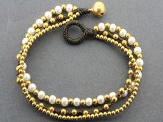 3 strand pearl & brass bracelet Beaded Necklace, Beaded Bracelets, Brass, Pearls, Sterling Silver, Unique, Gifts, Beautiful, Jewelry