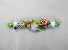 Vintage Miriam Haskell Branching Flower Brooch Glass Bead