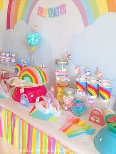 rainbow birthday anniversaire arc-en-ciel déco table