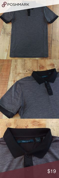 """Perry Ellis Grey Striped Athletic Golf Polo Poly Perry Ellis Striped Athletic Golf Polo Shirt - Size L, 100% Polyester 