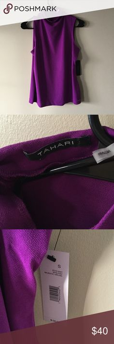 High neck NWT purple blouse from Tahari Purple high neck blouse from Tahari, NET. Deep purple/magenta, purchased from marshalls. Never worn but tried on once after purchase. Size small, but I am a medium and it fit me as well. Tahari Tops Blouses