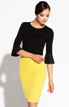 Dursi Bellis spódnica żółta Kobieca spódnica, dopasowany fason, podkreśla kobiece kształty