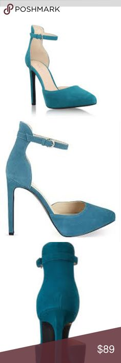 Nine West Ladyfinger Turquoise Pump Heels Sold out almost everywhere!!! Beautiful Suede turquoise strap heels. They are brand new. Will consider reasonable offers. Nine West Shoes