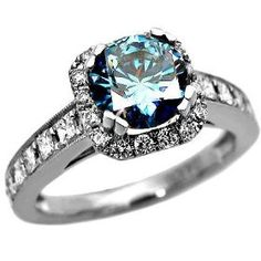 2.01 carat blue diamond engagement ring. Oh yes please. ...