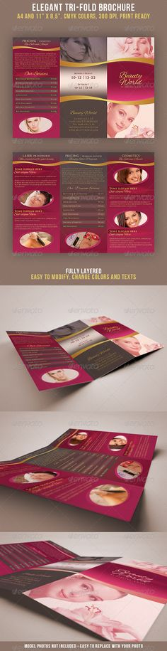 Trifold Beauty Salon Corporate brochure, Brochures and Salons - Gym Brochure Templates