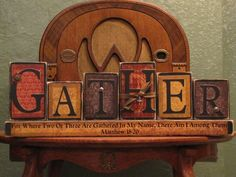 Customized Gather Family Sign Word Blocks Religious and Thanksgiving Decor. $42.00, via Etsy.
