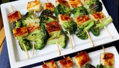 GRILLED BROCCOLI & CHEESE KABOBS - Grilled broccoli is a side dish that everyone must try at least once in their life, add to that grilled broccoli some soft & chewy cheese….this is an automatic winner! The baked cheese in this dish (I use Juusto) reminds me of a warm cheese curd, it's squeaky when you chew it, very addicting for us MN cheese curd lovers.