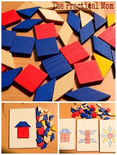 The Practical Mom: Cheap Pattern blocks and DIY boards for Toddlers
