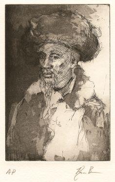 Ryan Bongers / Man with Turban / Etching and aquatint / Portrait / Printmaking / Intaglio / Drawing / Art / Decor