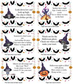 Free Printable Halloween Treasure Hunt for Kids. 24 mix-and-match clues plus blanks. Just give them the first clue and let them off to hunt! Halloween Toys, Halloween Activities For Kids, Halloween Party Games, Holidays Halloween, Spooky Halloween, Halloween 2020, Halloween Worksheets, Printable Halloween Labels, Halloween Treats