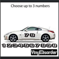 Race Numbers Vinyl Decal Car Decal CF Car Decal - Vinyl decals car