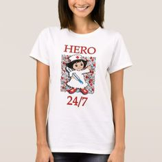 Nurse: Hero 24/7 Black Haired Nurse T-Shirt - diy cyo customize create your own personalize