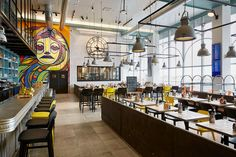 If travelling to Paris-Orly, do not miss the new Cuisine Urbaine Parisienne restaurant designed by Studio MHNA as a mix of street art and iconic architecture. Restaurant Design, Restaurant Bar, Paris Restaurants, Interior Decorating, Interior Design, Elle Decor, Street Art, Lounge, Studio
