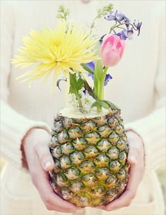 DIY, Do It Yourself, Fruit and Flowers Centerpiece, Fruit, Flowers, Pineapple Bouquet, Pineapple, Centerpiece
