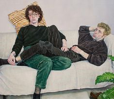 Cozyhuarique — Couple on a Red Sofa  -  Ralf Scherfose  1995... Couple Painting, Couple Art, Sketch 2, Art Sketches, Traditional Paintings, Contemporary Paintings, Painting Inspiration, Art Inspo, Blind Girl