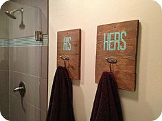 His & her towel hooks