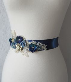 Peacock Blue Bridal Sash, Wedding Belt, Cobalt Blue with Gold Lace and Vintage Flowers - STARRY NIGHT. $140.00, via Etsy.