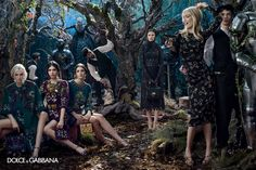 enchanted forest with fairies, medieval princesses & Claudia Shiffer as Queen of the Fairies -Dolce&Gabbana F/W2014-15 shot by Domenico Dolce