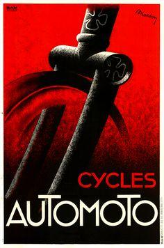 Cycles Automoto Vintage Art Deco Poster by Lajos Marton