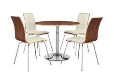 Luca Walnut Round Table and 4 White Chairs from Furniture Village #modern #contemporary