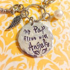 Memorial Jewelry - Loss of Loved One - Flies With Angels - Personalized Name Charm - Hand Stamped Jewelry - Pap Dad Mom Grandparet by CharmedJewelryByCDay on Etsy