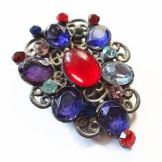 Antique Dress Clip with rhinestones and Jelly by CarolynsTreasure