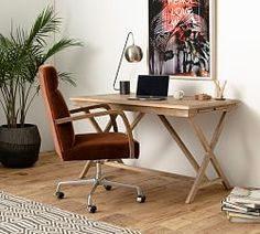 A carpenter's workshop table became the inspiration for the Jessie Desk. Crafted of reclaimed wood and featuring an X-shaped trestle base, it has a warm, rustic appeal while keeping a trim look. Two hidden side trays let you expand your work… Home Office Space, Home Office Desks, Office Decor, Wood Office Desk, Office Ideas, Office Inspo, Modern Wood Desk, Desk Space, Bedroom Office
