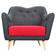 I just love this modern upholstery idea // cherry red with denim