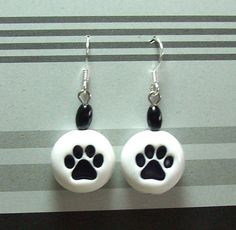 Paw Print Bead Earrings  Handmade Polymer Clay Beads by MyStudio91, $8.00