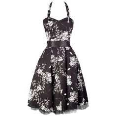 Black Dress with White Floral Pattern ❤ liked on Polyvore featuring dresses, cocktail dress, halter top, black halter dress, halter dress, floral dress and party dresses