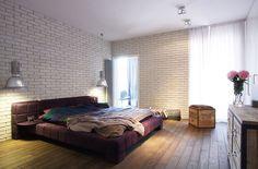 Gorgeous Apartment Design Interior with Industrial Design Scheme: Chic Bedroom Exposed Brick Wall Industrial Design Apartment