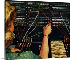 Premium Thick-Wrap Canvas Wall Art Print entitled Switchboard Operator, None