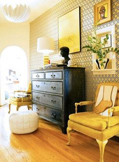 26 Ideas Bedroom Black Yellow Interior Design For 2019 Mellow Yellow, Color Yellow, Yellow Black, Mustard Yellow, Yellow Interior, Bedroom Black, Bedroom Wall, Bedroom Decor, Dresser As Nightstand